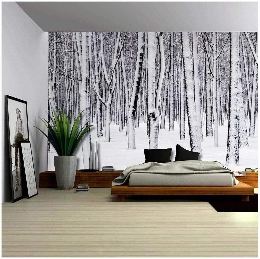 Wall26 Mural Of A Forest Covered In A Blanket Of Snow Wall Mural Removable Sticker Home Decor 100x144 Inches Amazon Com