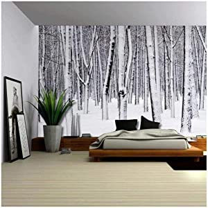 Wall26 - Mural of a Forest Covered in a Blanket of Snow - Wall Mural, Removable Sticker, Home Decor - 100x144 inches