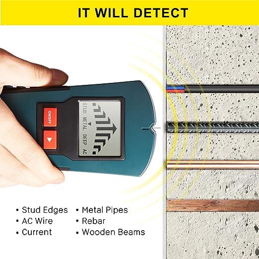 Detector de Pared, Fetanten Escáner Portátil de Metal Madera y AC Cable Detector de Cables Eléctricos, Objetivos Metálicos, Zumbador, de Pantalla LCD,Digita ...