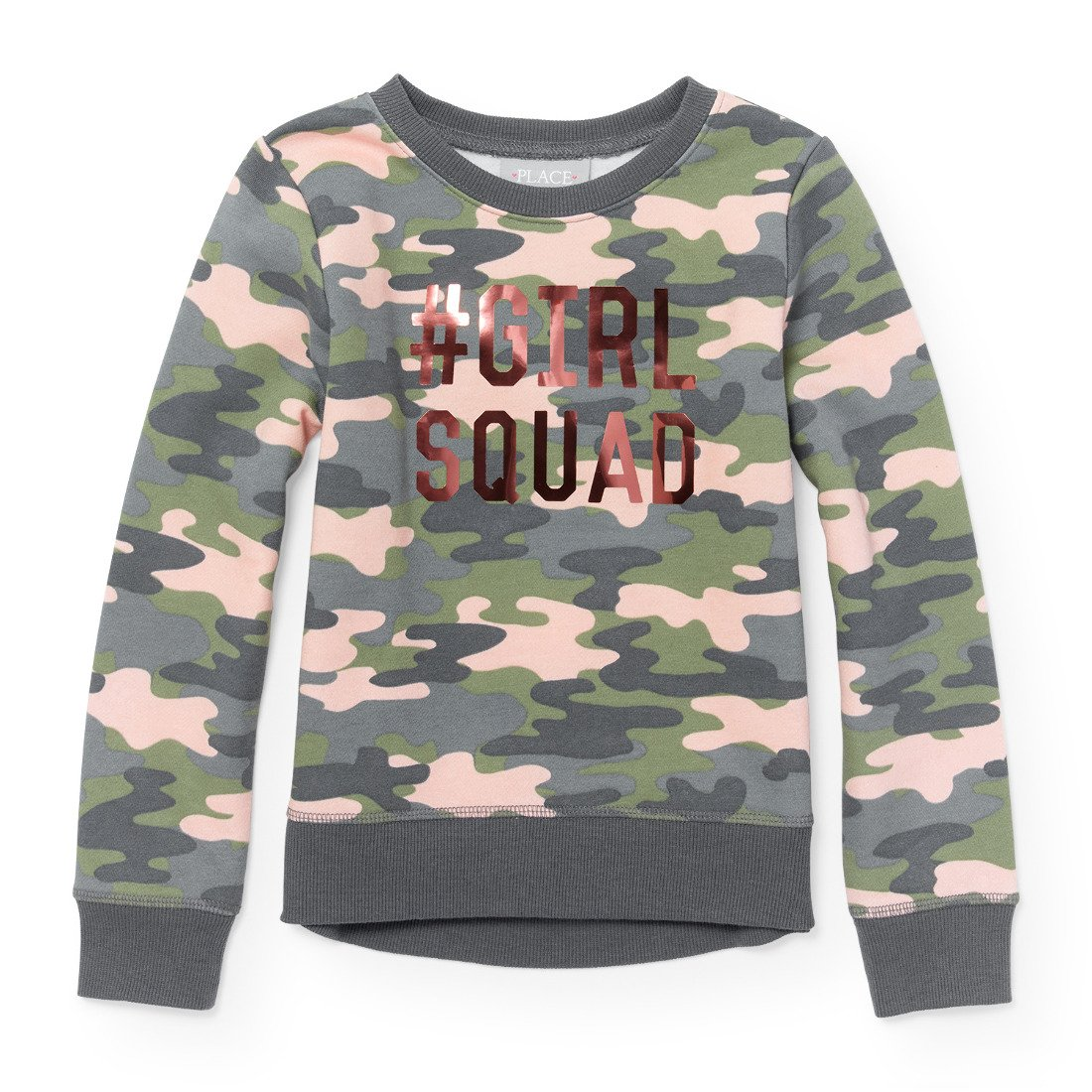 The Childrens Place Big Girls Camouflage Active Graphic Long Sleeve Top