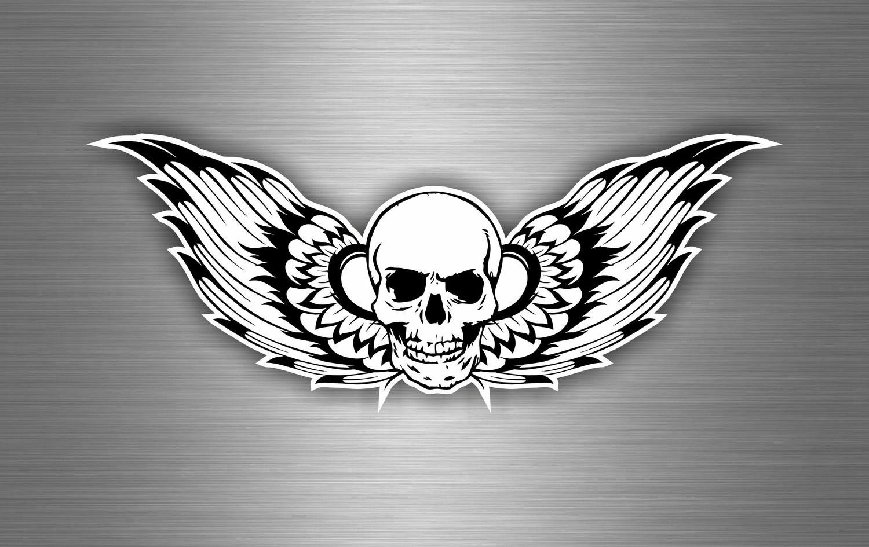 Autocollant Sticker Biker Voiture Moto Casque Tete de Mort Ange Pirate Noir akacha SKU005895