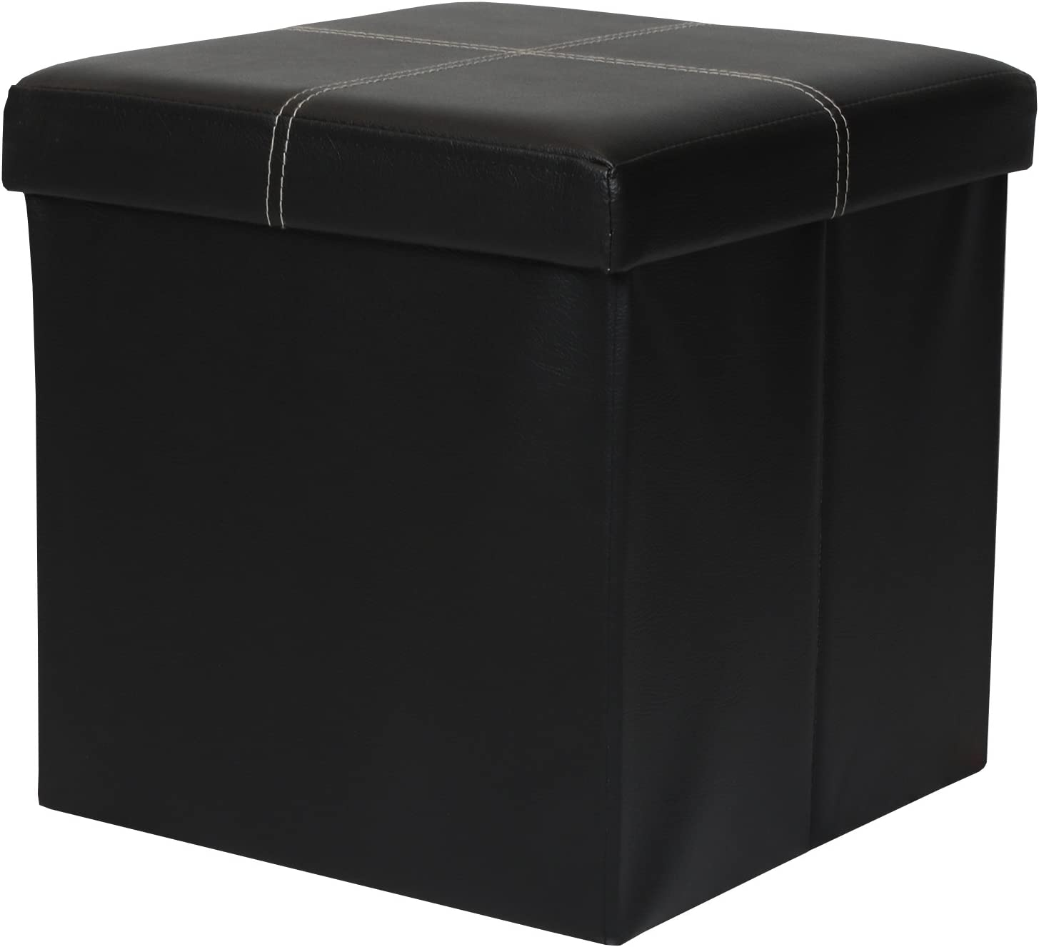 "Otto & Ben 15"" Storage Ottoman - Folding Toy Box Chest with Memory Foam Seat, Faux Leather Small Ottomans Bench Foot Rest Stool, Line Black"