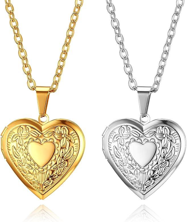 Flongo 2pcs Collar de corazón portafotos Colgante de corazón ...