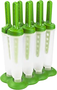 Tovolo, Drip-Guard Handle 4 Oz, Set of 4 Twin Ice Pop Molds, Popsicle Makers with Reusable Sticks, Mess-Free Frozen Treats, Green