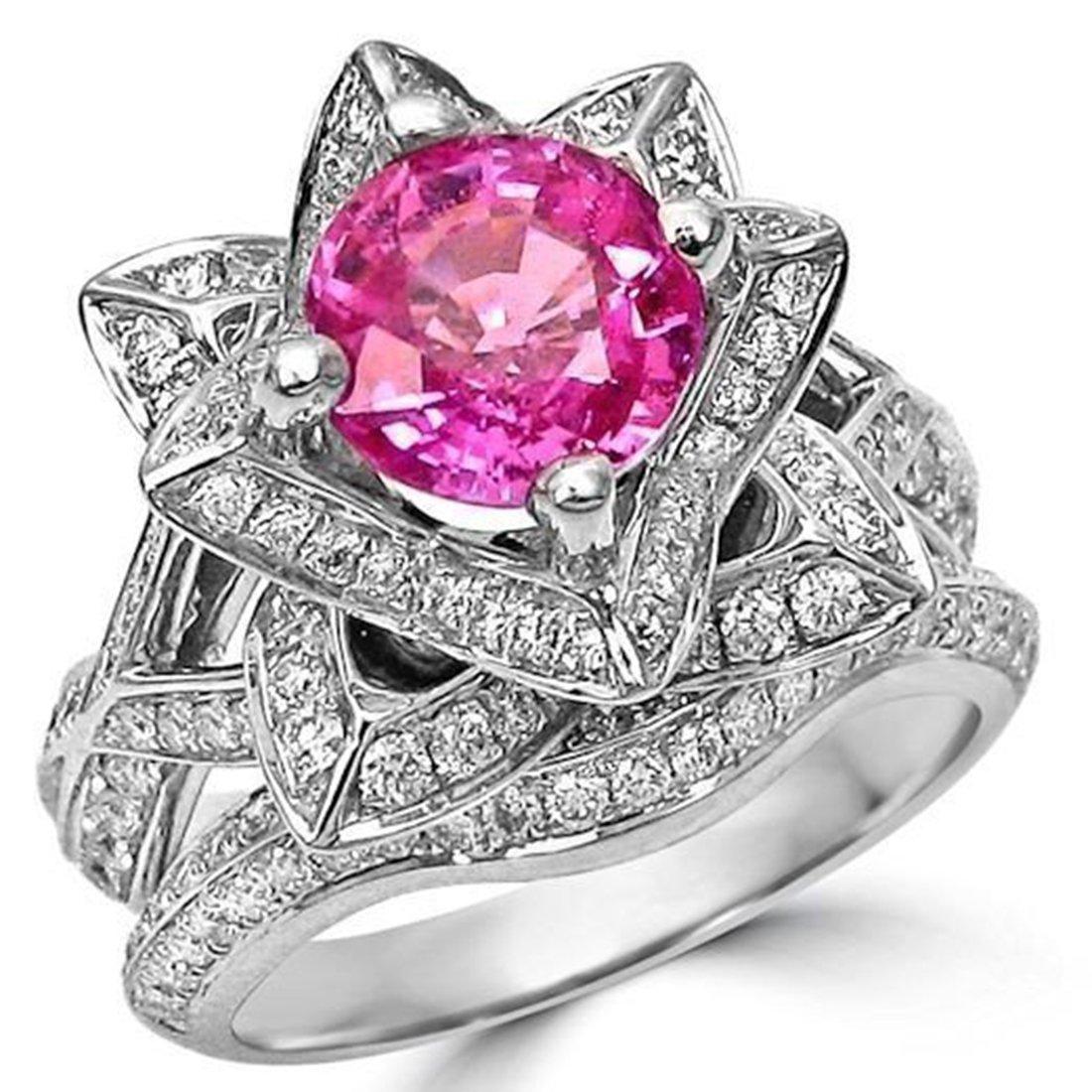 Smjewels 2.37 Ct Round Pink Sapphire Lotus Flower CZ Diamond Ring Bridal Set 14K White Gold Fn