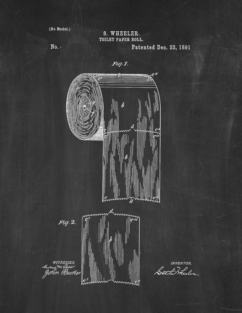 Toilet Paper Roll Patent Print Art Poster Chalkboard (8.5'' x 11'')