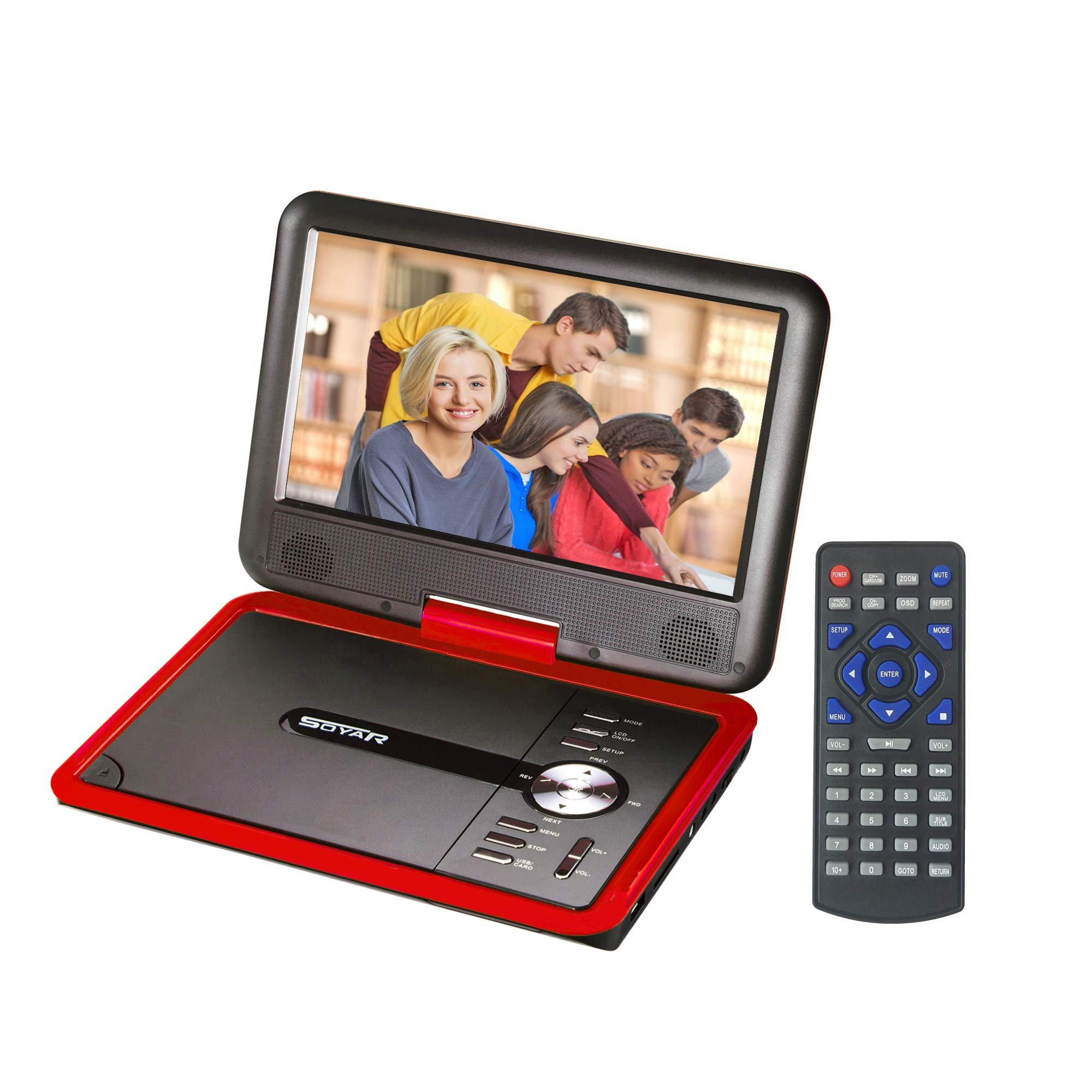 GJY 9.8 '' Portable DVD Players,Swivel Screen,Built-in Rechargeable Battery,Support USB/SD/Game/MP3,Full Function Remote (Red)