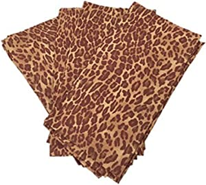 Enchante Accessories Linen Cotton Napkins Cloth Fabric Square Dinner Safari Cheetah Animal Print Brown Set of 4 Pack