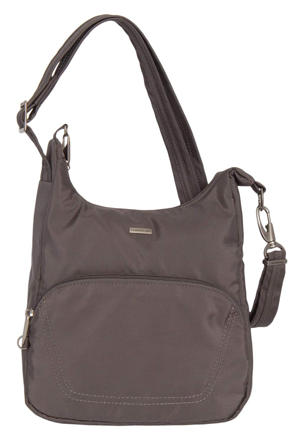Travelon Anti-Theft Classic Essential Messenger Bag (NUTMEG W/CORAL LINING)