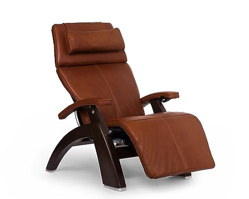 Perfect Chair inPC-610in Premium Leather Zero-Gravity Hand-Crafted Therapeutic Dark Walnut Power Recliner Renewed
