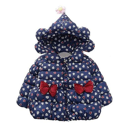 2ed2b5ee8 WARMSHOP Infant Boys Girls Winter Warm Coat,Loving Heart Print Bow Padded  Warm Zip Hooded