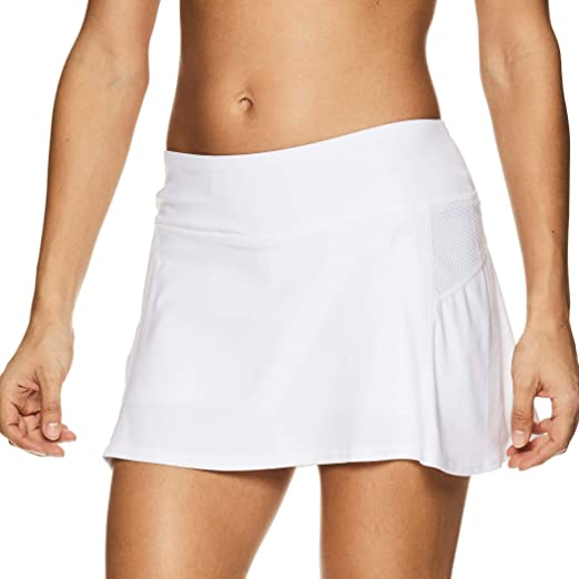HEAD Women's Athletic Tennis Skort - Performance Training & Running Skirt - Fresh Mesh Stark White, Large