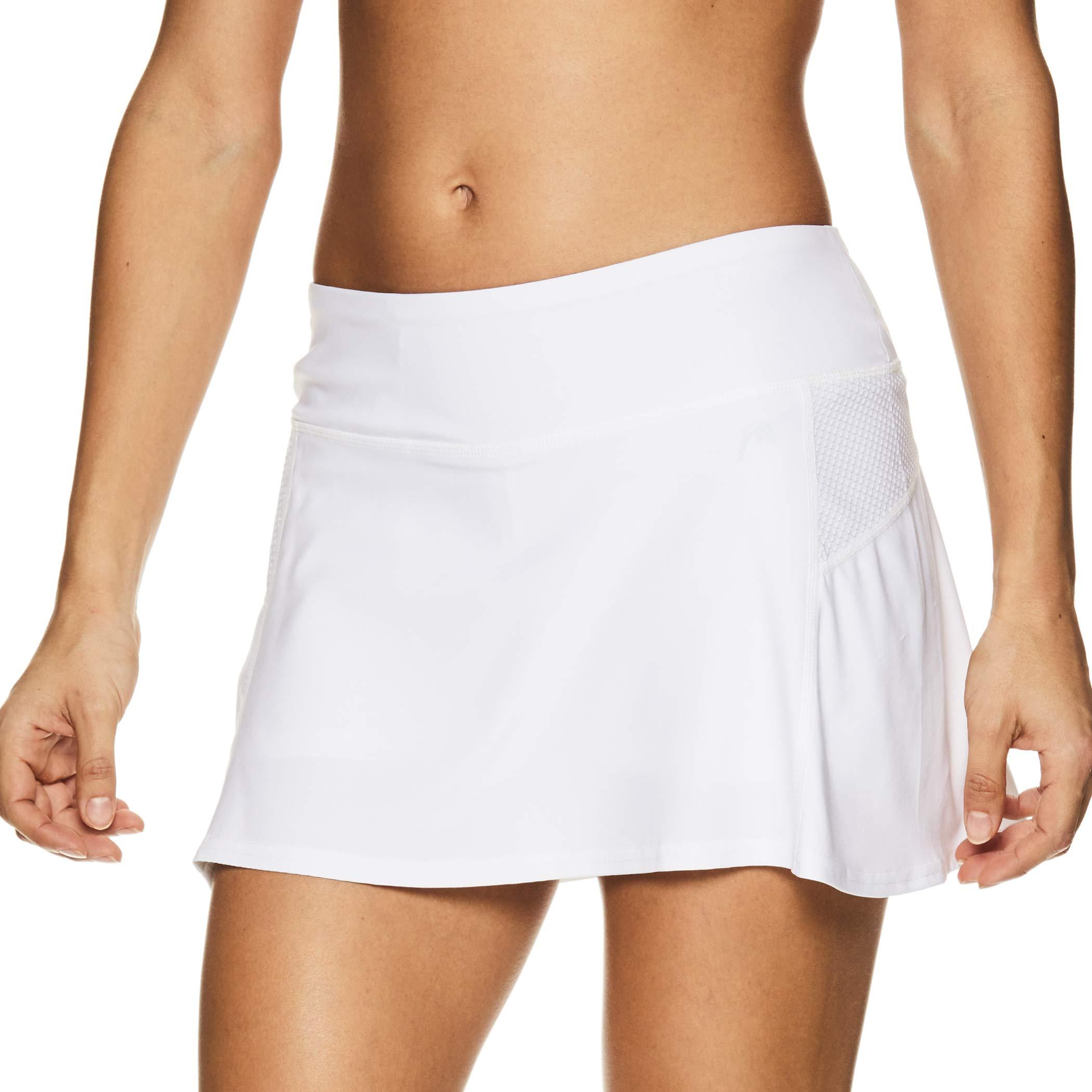 HEAD Women's Athletic Tennis Skort - Performance Training & Running Skirt - Fresh Mesh Stark White, X-Small