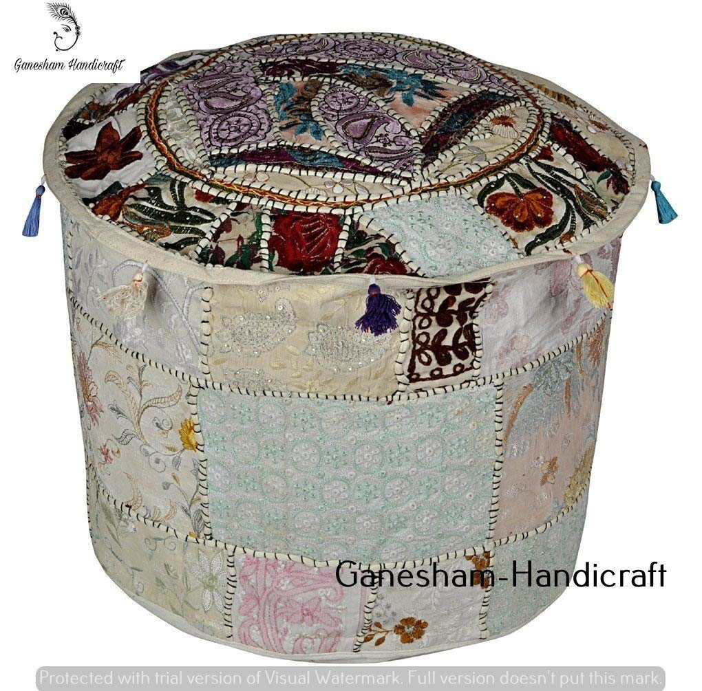 Home Decorative Ottoman, Indian Comfortable Floor Cotton Cushion Ottoman Cover, Indian Vintage Ottoman Handmade Pouf (Cover Only)