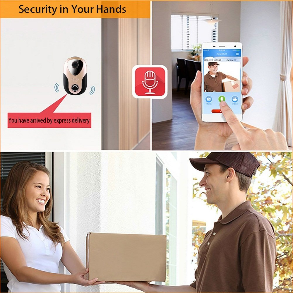 Taykoo Security Doorbell Camera, 720P WIFI Smart Visual Doorbell, Rapid Alarm/ Snapshot/ Recording/ Monitoring/ Open the Lock Automatically, Support Motion Detection Alarm and IR Night Vision, Gold by Taykoo (Image #3)