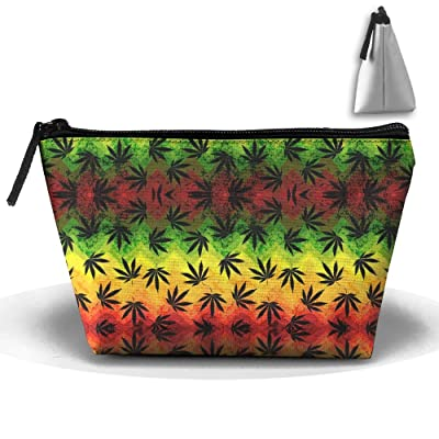 403d9d02b5ce 60%OFF Geometric Rasta Weeds Cosmetic Bags Portable Travel Toiletry ...