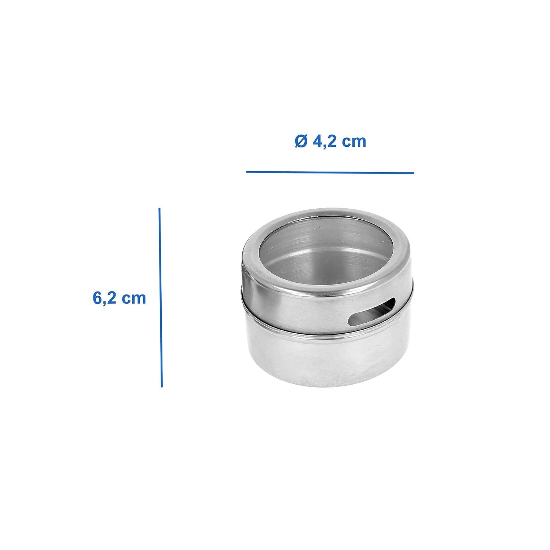 Set di 6 barattoli per spezie magnetici per sale in acciaio INOX Lantelme 7615 pepe e altro