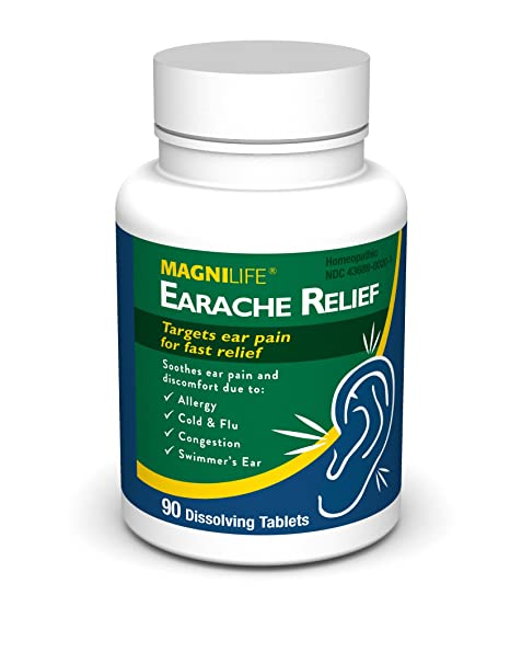 Amazon.com: MagniLife Earache Pain and Discomfort Relief Treatments: Cold/Flu, Congestion, Swimmers Ear and More (90 Tablets): Health & Personal Care
