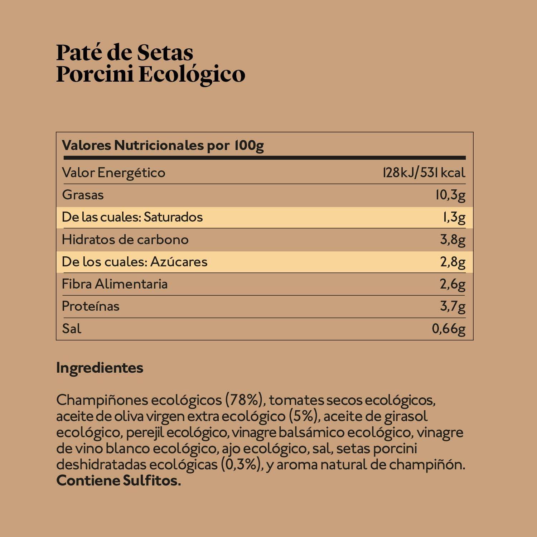 Delicious & Sons Paté de Setas Porcini - Ecológico - Sin Transgénicos - Sin Gluten - Vegano - Sin Azúcares Añadidos - Apto para dietas Paleo y Keto - ...
