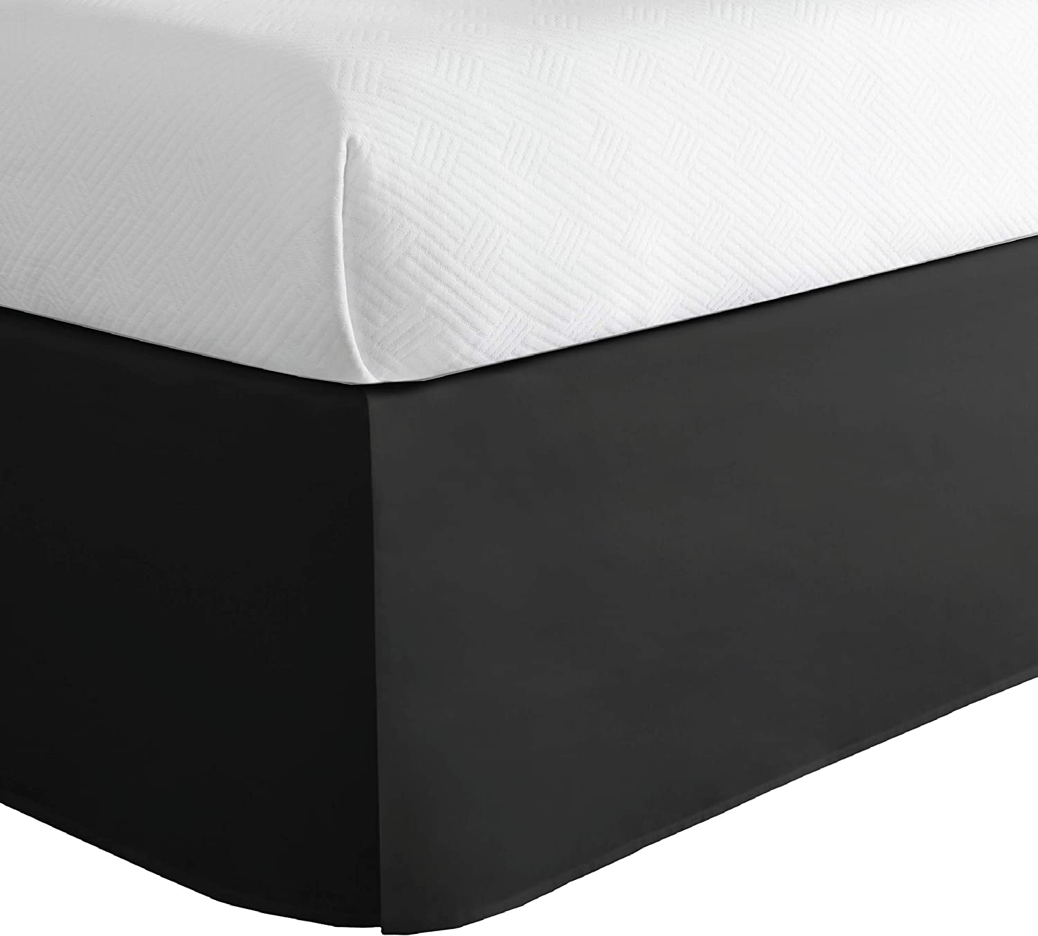 Lux Hotel Microfiber Tailored Bed Skirt with Classic 14 Inch Drop Length Pleated Styling, Twin XL, Black