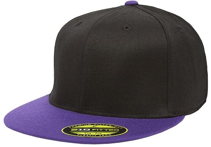 """aa79d751e Amazon.com: Original Black/Purple Flexfit Flatbill S/M 6 7/8""""-7 1/4 ..."""