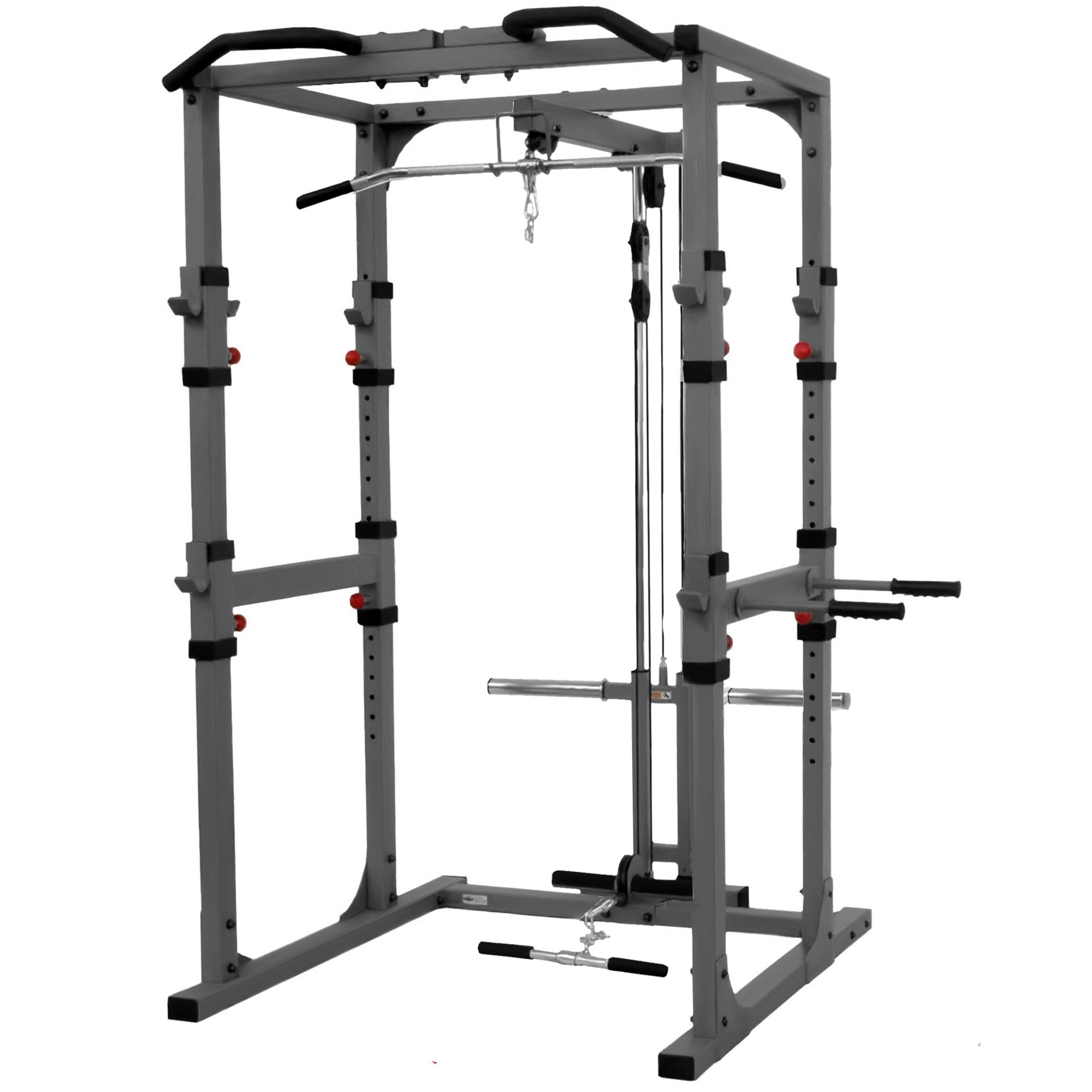XMark Fitness Heavy Duty 11-Gauge 2'' X 3'' and 2'' X 2'' Steel Mainframe Multi-Functional Power Cage With Lat Pulldown and Low Row Attachment Accommodates Standard and Olympic Plate Weights by XMark Fitness