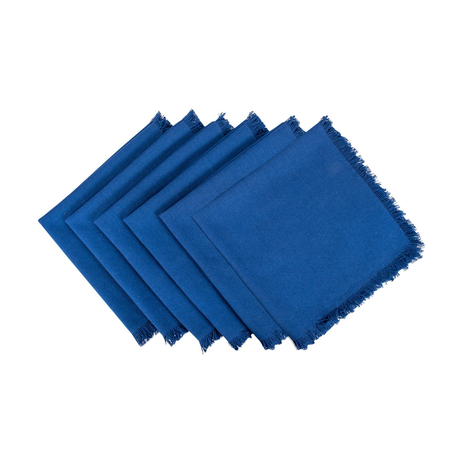 DII 100% Cotton, Oversized Basic Everyday Woven Heavyweight Napkin with Decorative Fringe for Place Settings, Family Dinners, BBQ, and Holidays (20x20'', Set of 6) Navy Blue Solid by DII