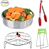 Steamer Basket for Instant Pot Accessories 6, 8qt Pressure Cooker, Aiduy Stainless Steel Vegetable Steamer Insert with Egg Steamer Rack Trivet Stand and Silicone Kitchen Tong Plate Gripper - 4 Pieces