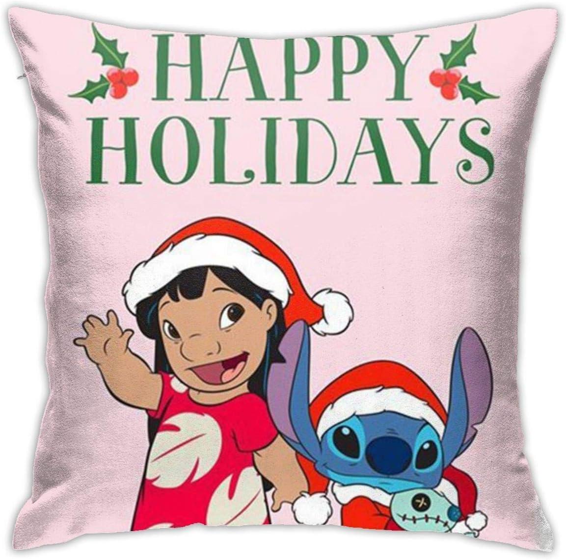 Boweike Stitch Happy Holidays Throw fundas de almohada 40 x 45 cm forma cuadrada decorativa funda de cojín para sofá sofá