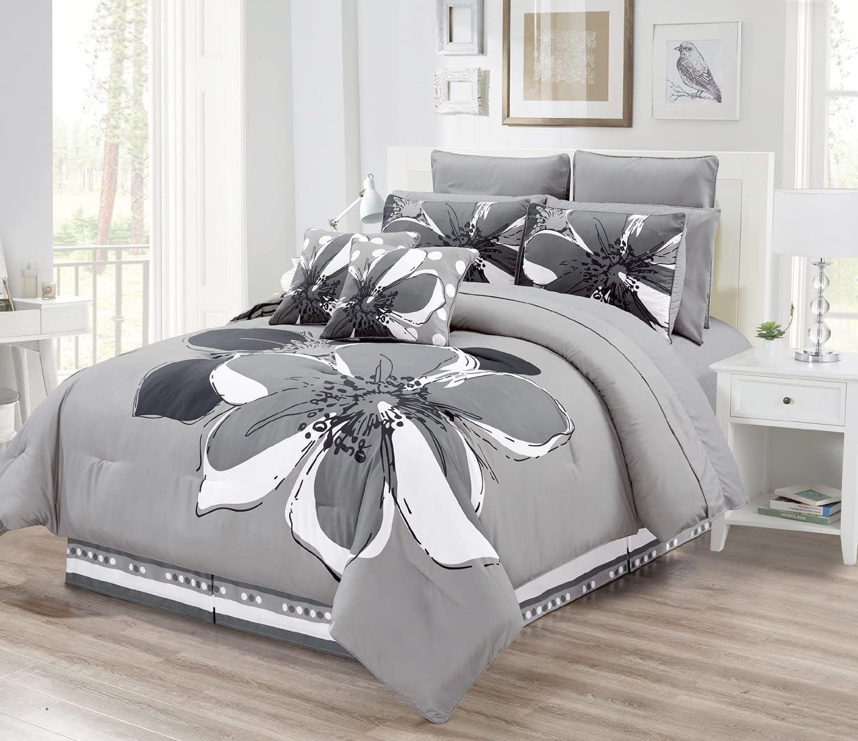 Amazon Com 12 Piece Grey Gray Black White Floral Bed In A