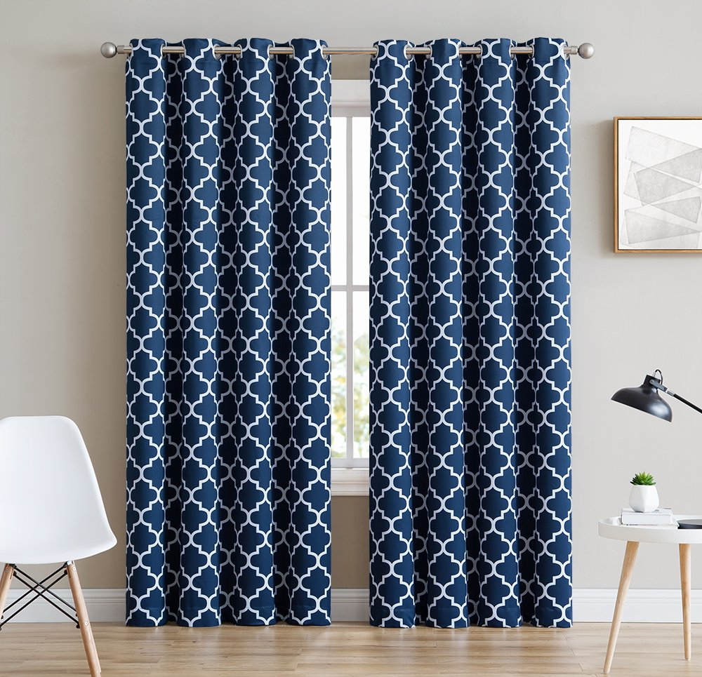 HLC.ME Lattice Print Thermal Insulated Room Darkening Blackout Window Curtains / Drapes - Navy Blue