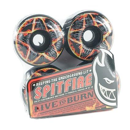 Ruedas de Skate Pro pentagrama Spitfire color negro 53,6 mm para un ...