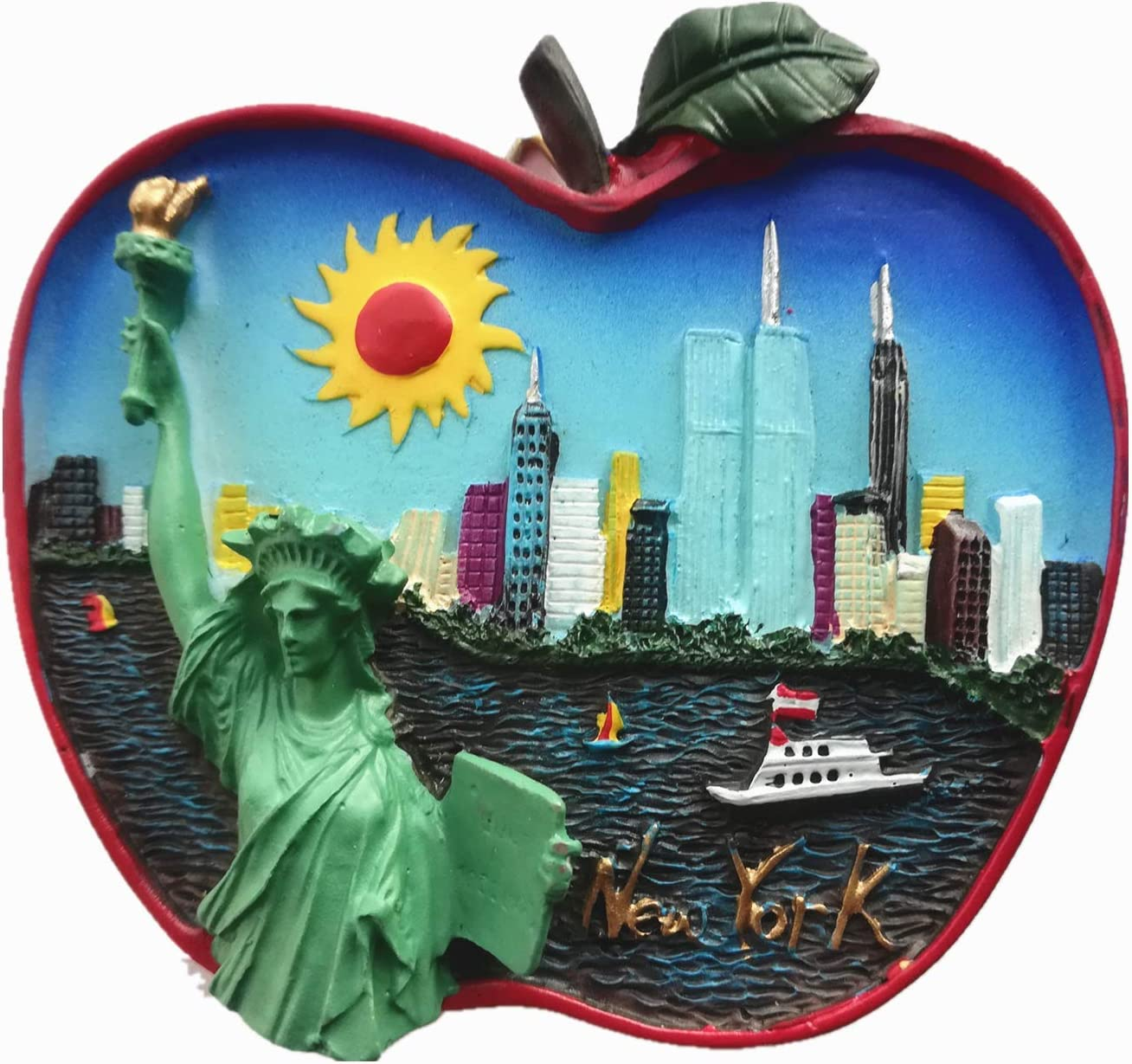 Apple Shape New York USA 3D Fridge Magnet,Home & Kitchen Decoration Magnetic Sticker New York USA Refrigerator Magnet