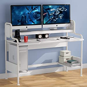 Tribesigns Computer Desk with Hutch, 55-Inch Large Gaming Desk with Storage Shelves, Studio Workstation Desk Studying Writing Table for Home Office (White)