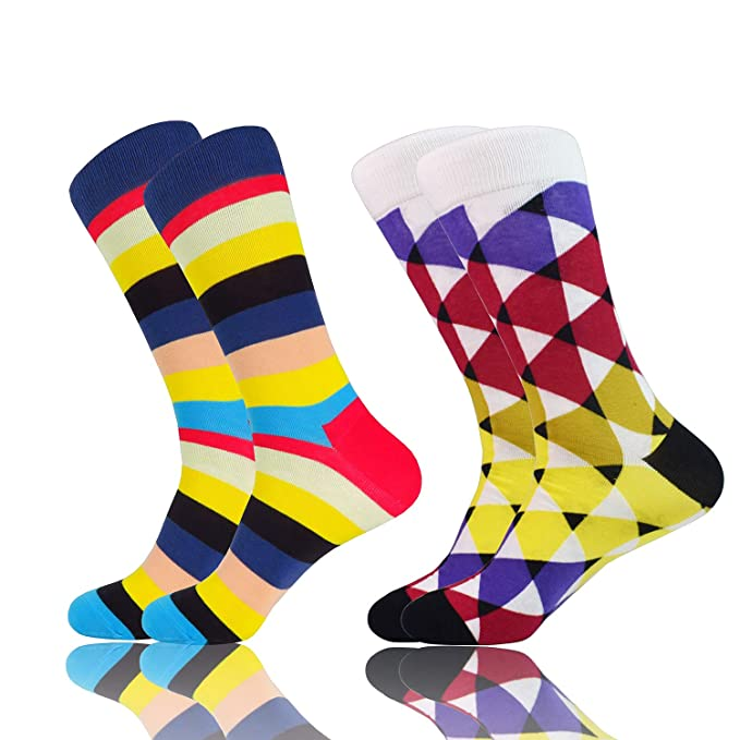 2Pairs Mens Business Cotton Ankle Socks Fancy Crew Printing Casual Classic Socks