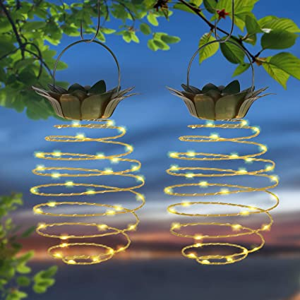 Charmant Doingart Garden Solar Lights Outdoor Decor 2 Pack Pineapple Solar Path Lights  Hanging Fairy Lights,