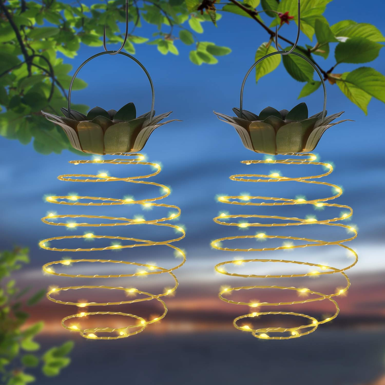 Doingart Garden Solar Lights Outdoor Decor 2 Pack Pineapple Solar Path Lights Hanging Fairy Lights, Waterproof Solar Led Warm Fairy String for Patio Path Home Décor Lighting