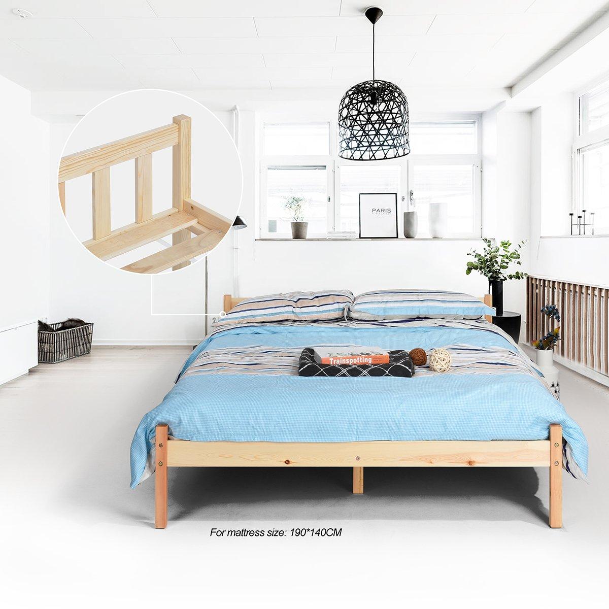 Estructura de la cama de pino macizo natural, resistente, color ...