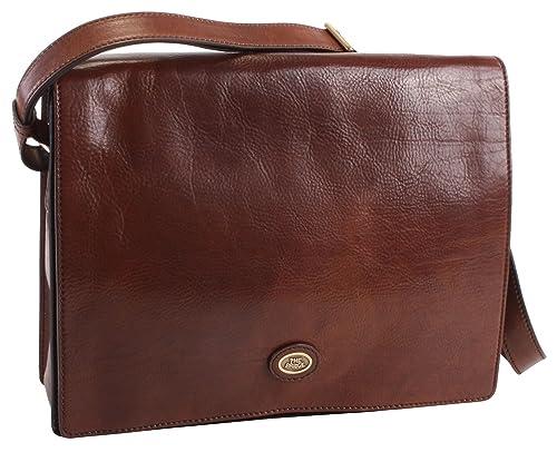 0683e71371b3 The BRIDGE Italian Leather MASSANGER Bag Hand Bag Beautiful classic Brown  GENUINE TODAY BUSINESS 05296001  Amazon.co.uk  Shoes   Bags