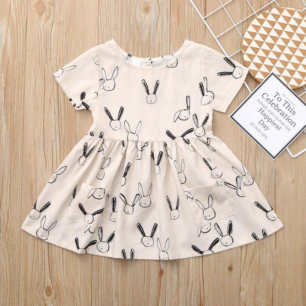 NUWFOR Toddler Baby Kid Girl Summer Rabbit Print Pocket Princess Dresses Casual Clothes(Beige,18-24 Months) by NUWFOR (Image #5)