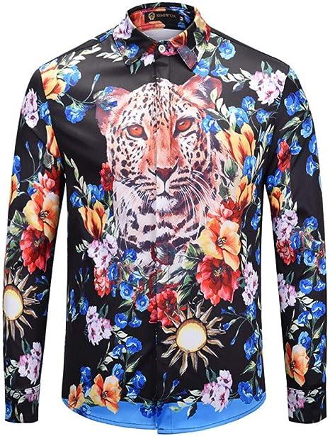 CHENS Camisa/Camisetas/Casual/Camisa de Hombre Flores Estampado de Guepardo y teñido Camisa de Manga Larga Verde Ropa de Hombre: Amazon.es: Deportes y aire libre