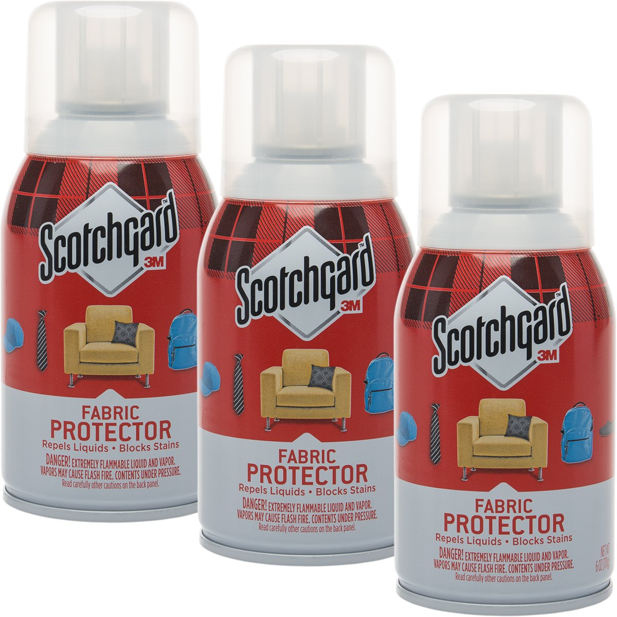 Scotchgard 3 Pack 3M Fabric 6oz Protector Spray Block Furniture & Upholstery Protection for Stains