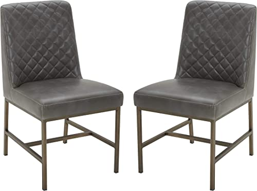 Amazon Brand Rivet Vermont Modern Faux Leather Diamond Accent Dining Chair