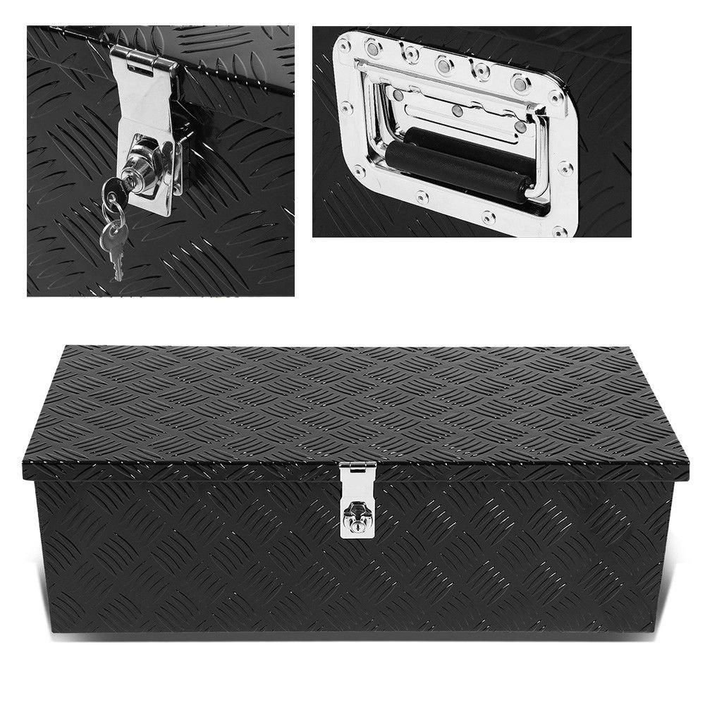36'' Black Aluminum Truck Bed Underbody Tool Box Pickup Trailer RV Tongue Tool Storage Box W/ Lock