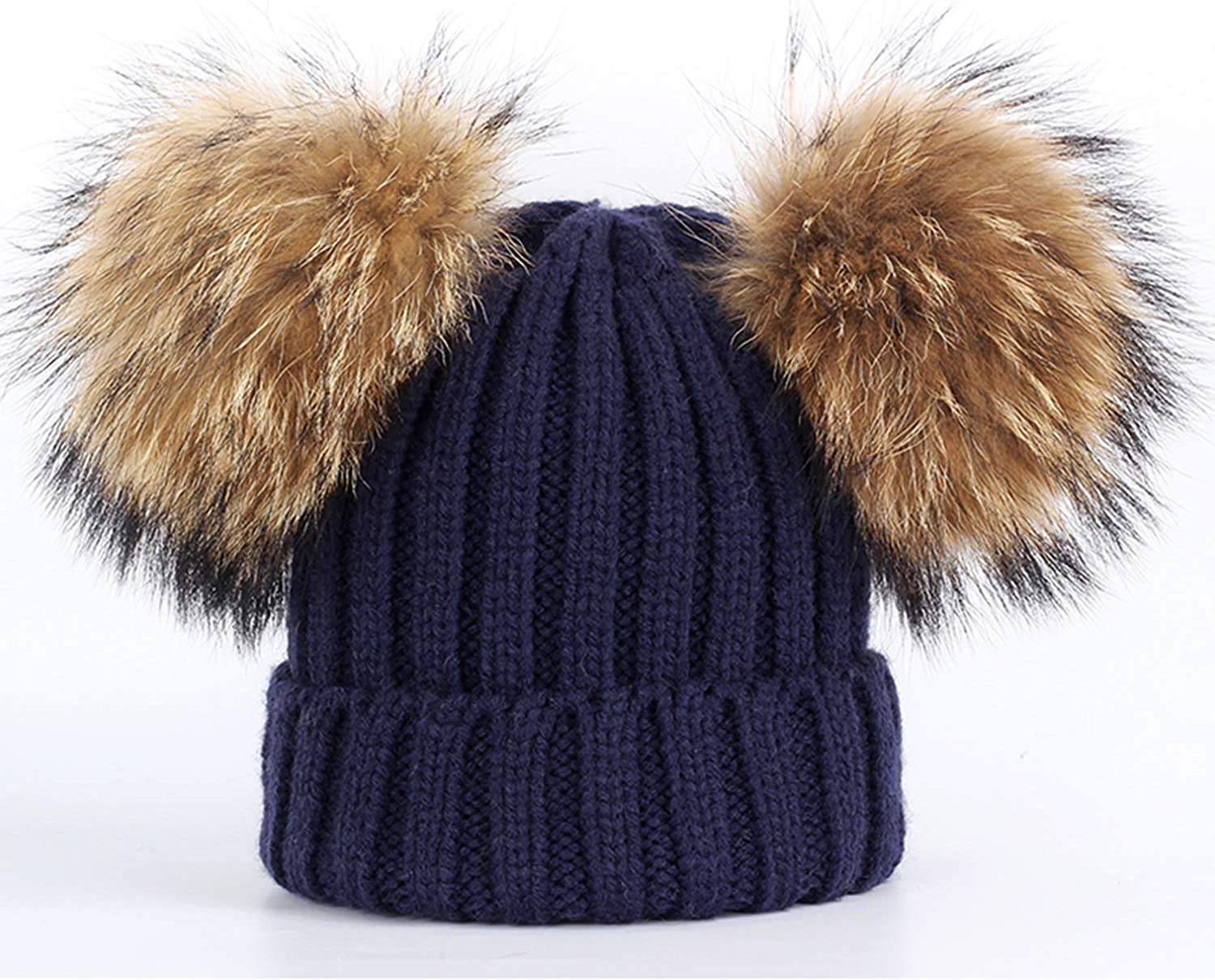 New Two Raccoon Fur pom poms Knit Beanie Hat Solid Color Winter Hat Boy Girl Thicken Hedging Cap