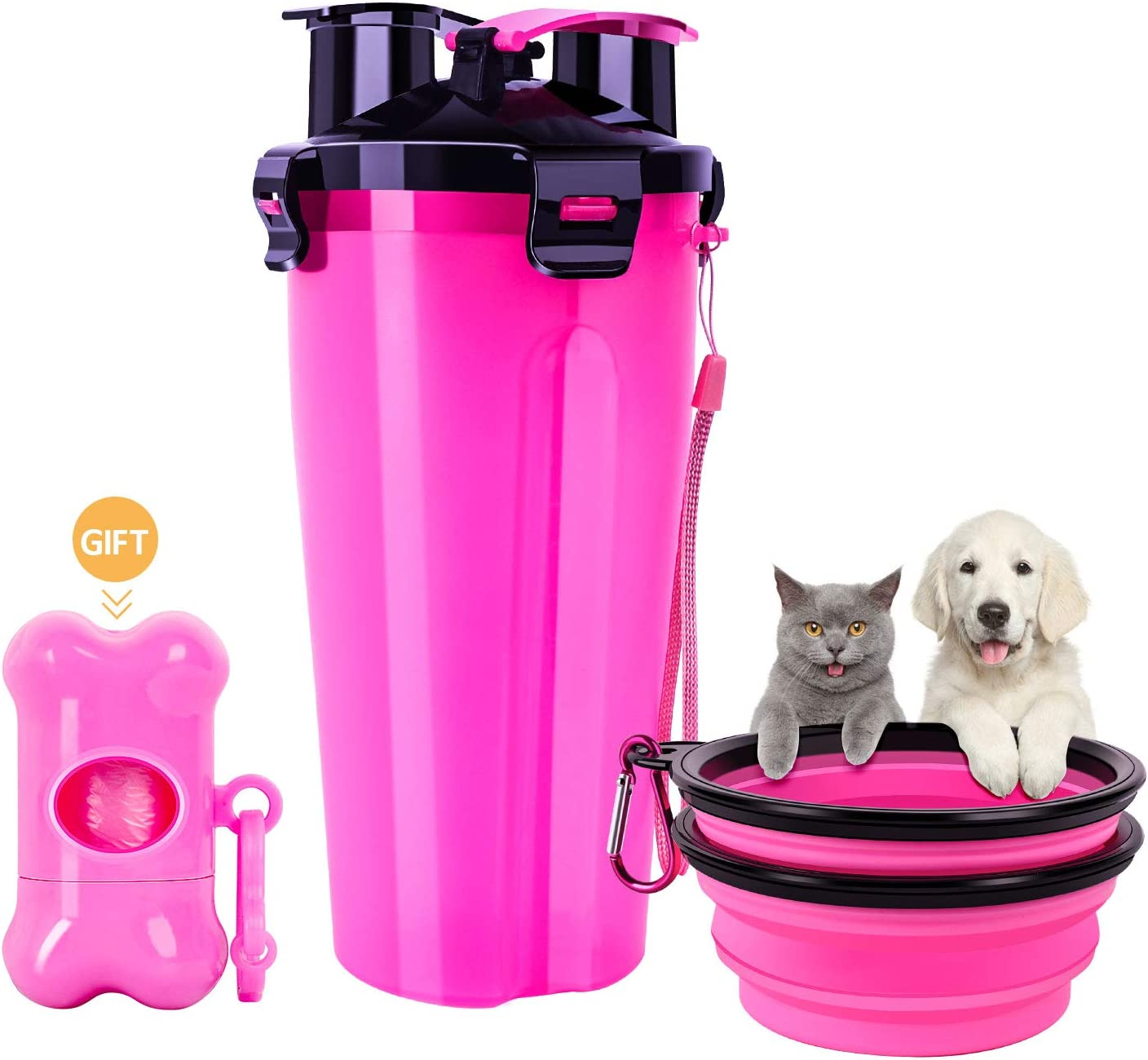 Dog Water Bottle for Walking, Portable Water Bottle with Collapsible Dog Bowl and Dog Poop Bag, 2 in 1 Outdoor Pet Water Food Container for Large Small Dog, Leak-Proof Cat Water Bottle for Traveling