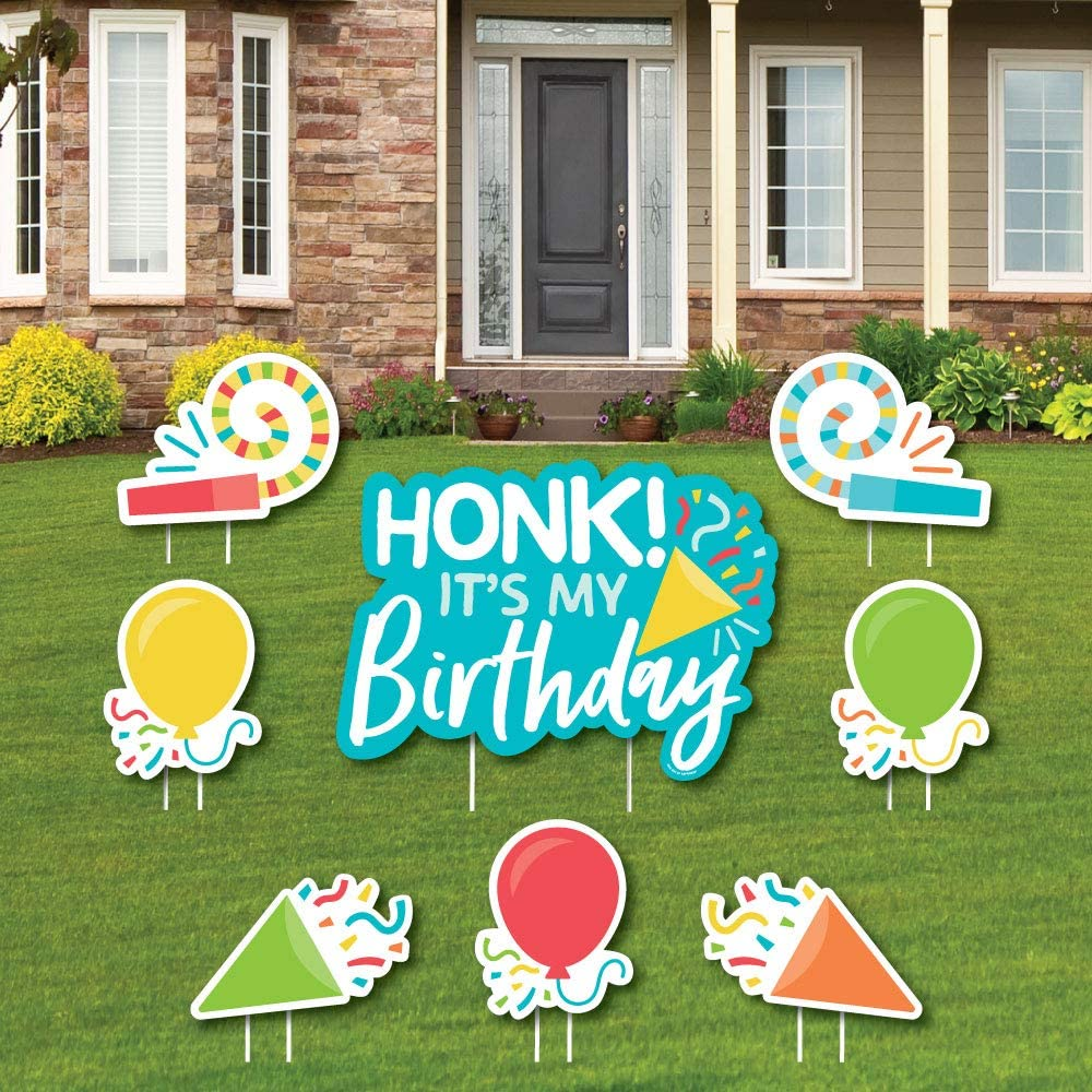 Amazon Com Big Dot Of Happiness Honk It S My Birthday Yard Sign And Outdoor Lawn Decorations Birthday Party Parade Yard Signs Set Of 8 Garden Outdoor