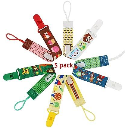 Almondcy Dummy Clip 5 Packs - Diseño Elegante Moderno de 2 Caras - Mejor Soporte para Chupetes para Niñas y Niños