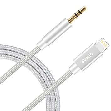low priced 0d8b2 70f93 iPhone 8 Car Aux Audio Cable, VIMVIP [3FT / 1M] Nylon Braided Lightning to  3.5mm Auxiliary Audio Cord Male to Male Aux Adapter Cable-Compatible with  ...