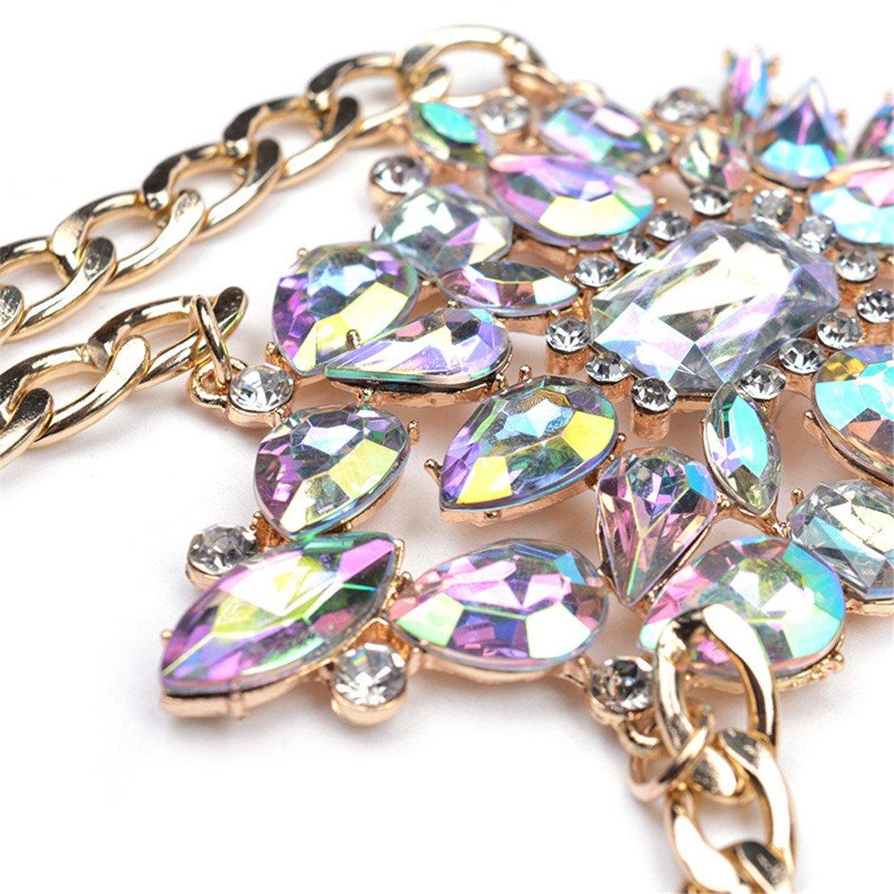 SIYWINA Body Chains Women Novelty Jewelry Necklace Body Jewelry with Rhinestone STL052-4